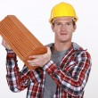 Roofer with tiles — Stock Photo