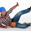 Construction worker in an accident - Stock Photo