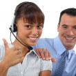 Office colleagues, thumbs up — Stock Photo