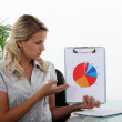 Stock Photo: Woman holding a statistics diagram