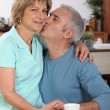Foto Stock: Couple kissing