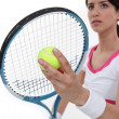 Tennis player about to serve — Stock Photo #8119569