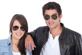 Portrait of teenagers with sunglasses — Stock Photo