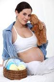 Mujer embarazada tejer. — Foto de Stock
