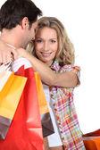 Couple on shopping trip — Stock Photo