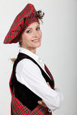 Woman wearing traditional scottish outfit — Stock Photo