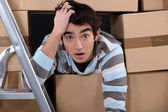 Shocked logistics worker — Stock Photo
