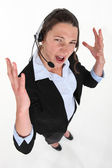 Stressed call-center worker — Stock Photo