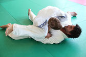Judo practitioners in a hold on mat — Stock Photo