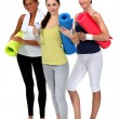 Threesome of girls after exercise — Stock Photo #8120453