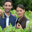 Young couple proud of their vineyard — Stock Photo