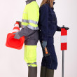 Male and female traffic workers — Stock Photo