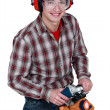 Stock Photo: Mholding power tool