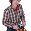 Man holding a power tool — Stock Photo