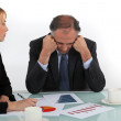 Director and employee in a meeting — Stock Photo