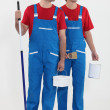 Two painter-decorators stood together — Stock Photo #8129081