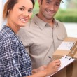 Courier with signed-for delivery — Stock Photo #8129224