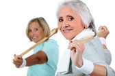 Portrait of two women doing exercise — Stock Photo