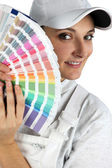 Decorator with color swatches — Stock Photo