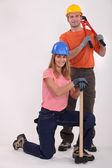 Construction duo — Zdjęcie stockowe