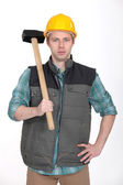 Builder stood with sledge-hammer — Stock Photo