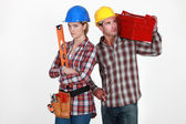 Couple with tools — Stock Photo