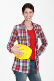 Portrait of a female construction worker — Stock Photo