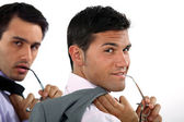 Two sexy businessmen posing — Stock Photo