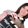 Female movie director — Stock Photo