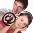 Couple enjoying new technologies — Stock Photo #8163417