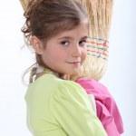 Little girl sweeping — Stock Photo #8164002