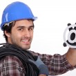 Electrician with an @ sign — Stock Photo #8164262
