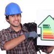 Entrepreneur showing energy consumption chart, — Stock Photo #8164294