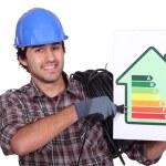 Entrepreneur showing energy consumption chart, — Stock Photo #8164294