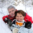 Senior couple on a winter vacation - Stock Photo