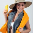 Young woman with sun protection - Stock Photo
