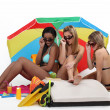 Three girls at beach — Stock fotografie #8166146