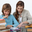Sister helping her sibling with an assignment — Stock Photo