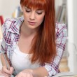 Young woman studying for an exam — Stock Photo #8166451