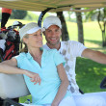 Couple playing golf — Stock Photo #8167158