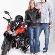 Teenagers with motorbike and French licence — Stock Photo