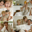 Stock Photo: Parents with children at home, photo-montage