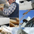 Stock Photo: Photomontage of construction worker on site