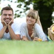 Stock Photo: Couple having picnic