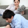 Stok fotoğraf: Young homeloving couple