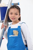 Girl dressed as a painter — Stock Photo