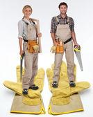 Female and male carpenter — Stock Photo