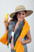 Young woman with sun protection — Stock Photo