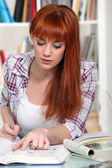 Young woman studying for an exam — Stock Photo