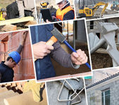 Collage showing construction work — Stock Photo